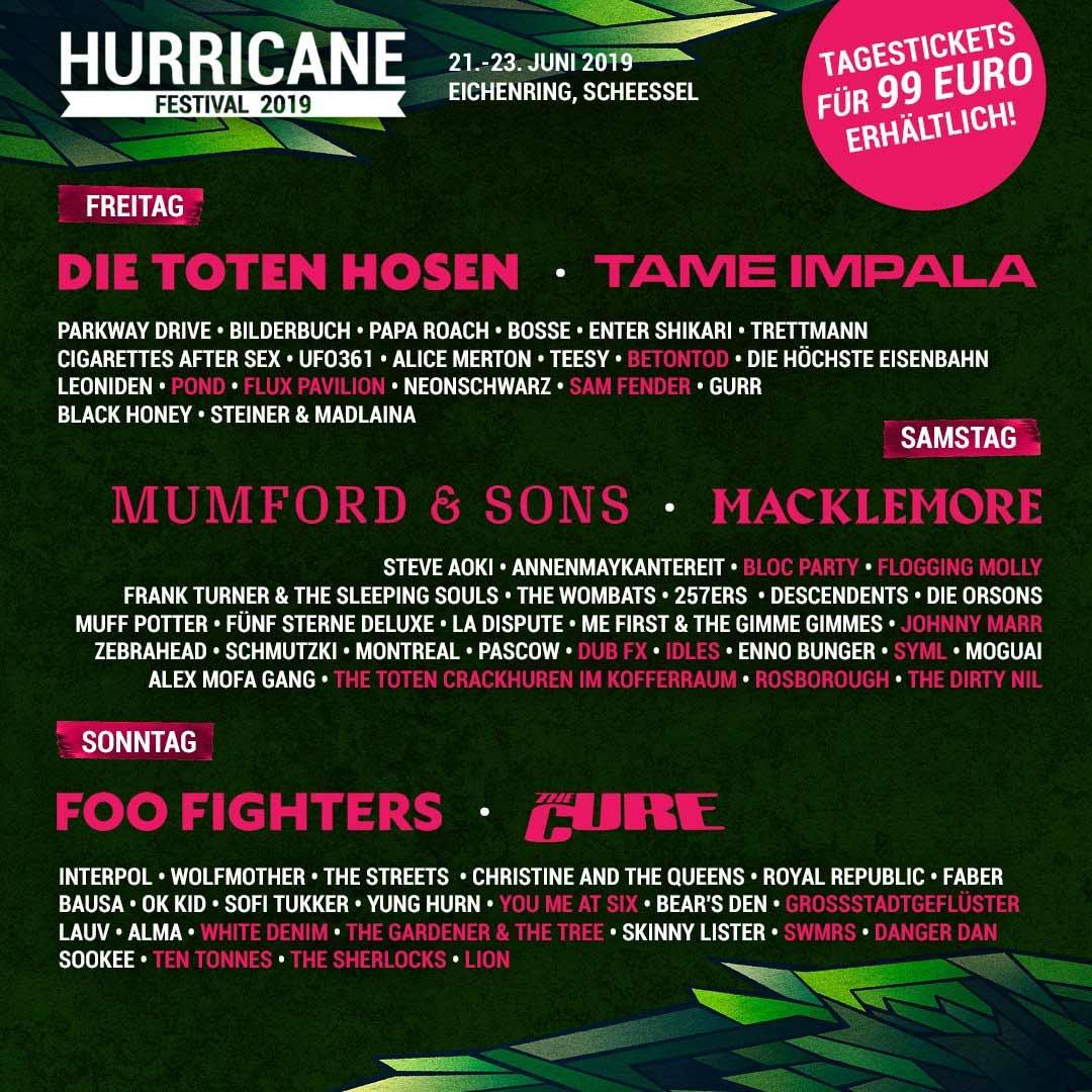 Finales Hurricane Festival Line-up 2019 nach Tagen Hurricane-Festival-2019-line-up