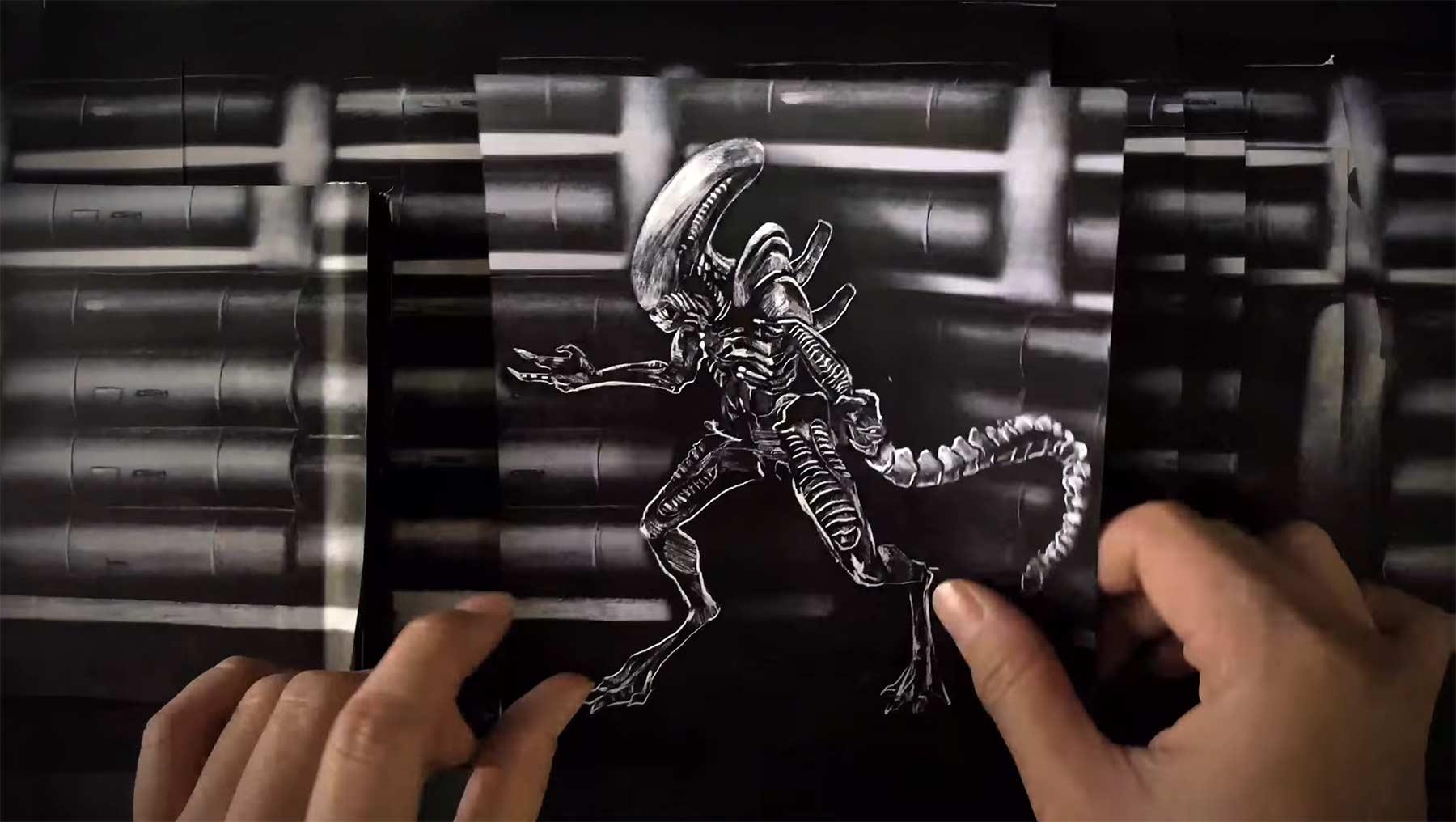 """Alien""-Flipbook aus Papier"