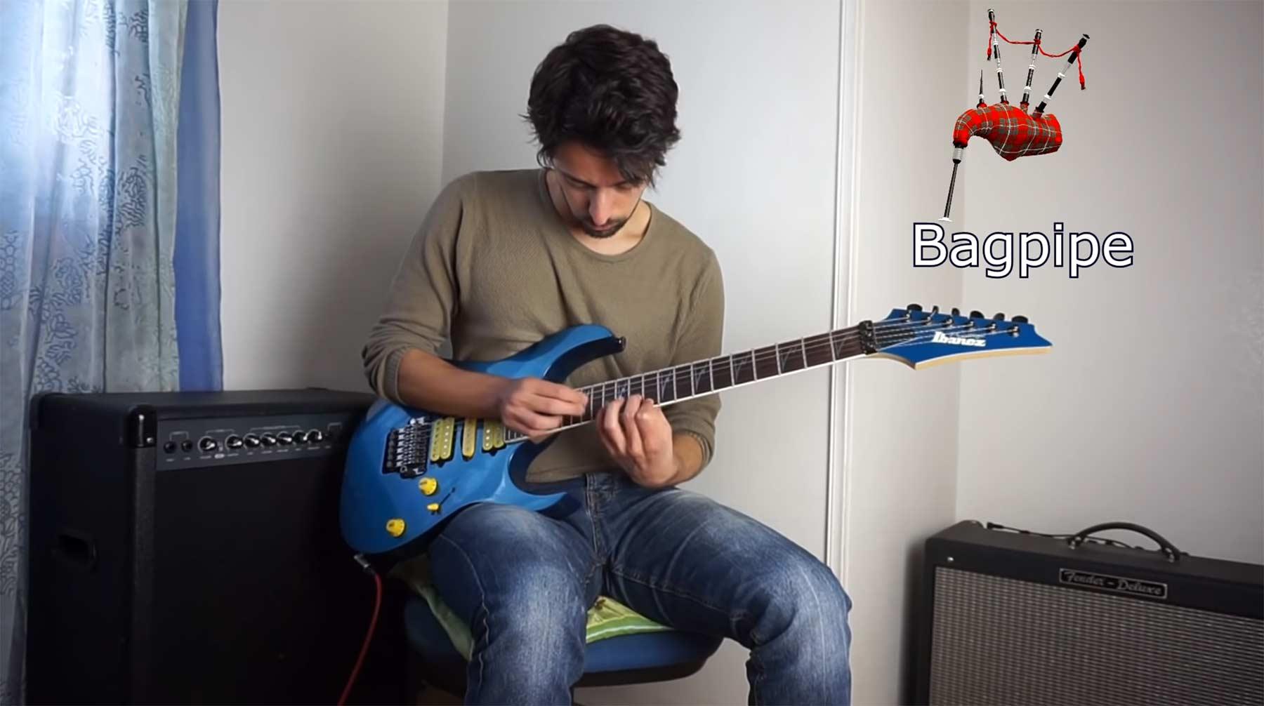 9 andere Instrumente auf einer Gitarre spielen