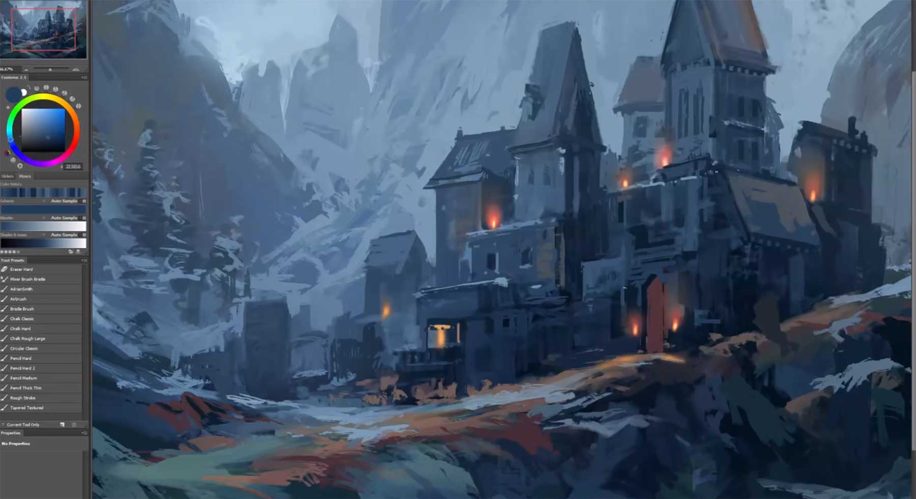 Andreas Rocha malt ein Fantasy-Schloss fantasy-schloss-digital-painting-making-of