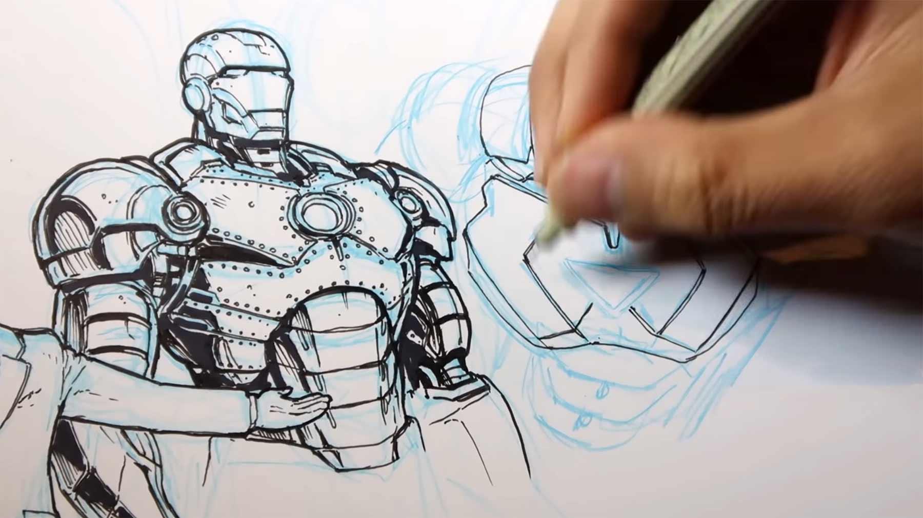 Speedpainting: Alle 50 Iron Man-Varianten auf einem Bild iron-man-speedpainting