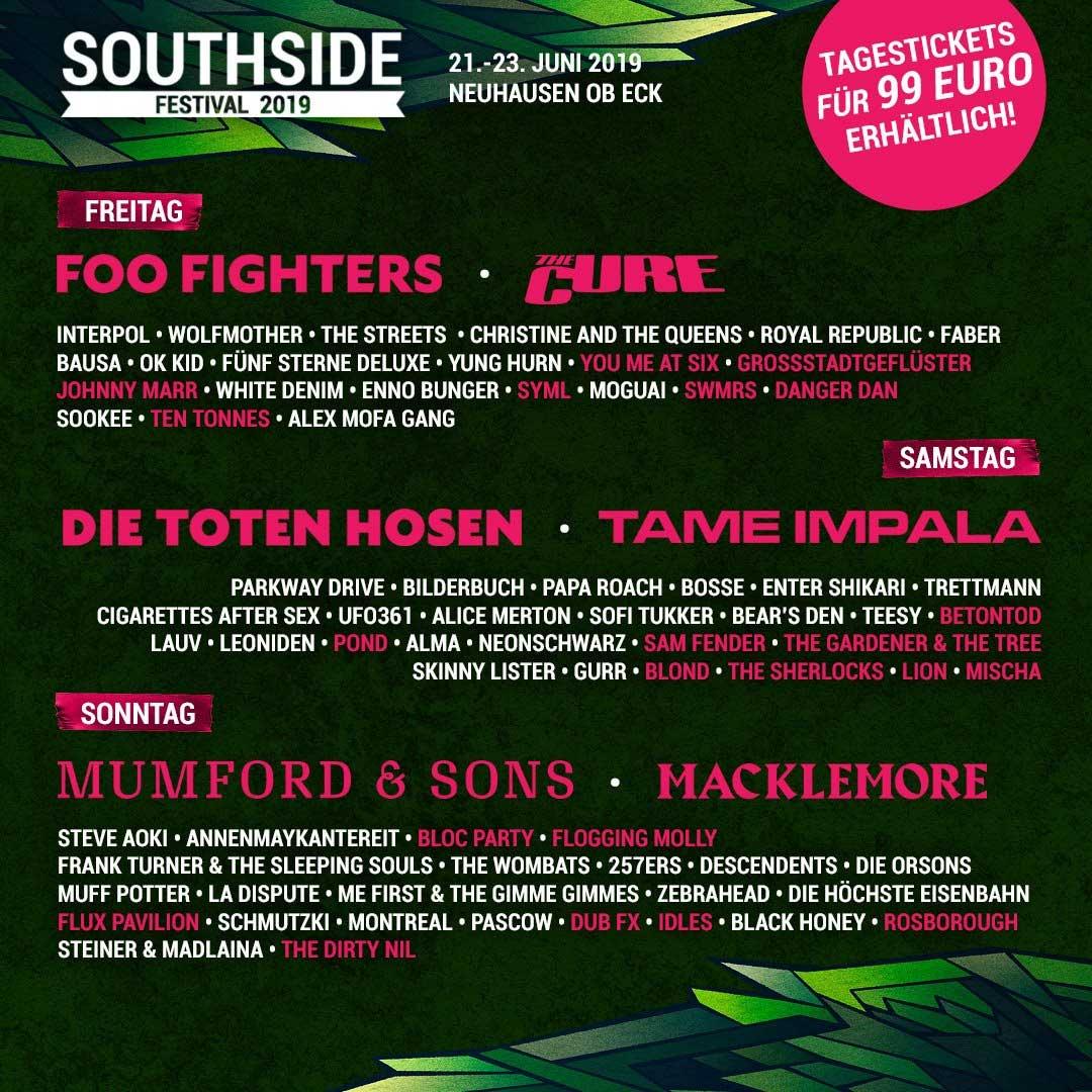 2x3 Tickets für das Southside Festival mit Rockstar Energy southside-festival-2019-line-up