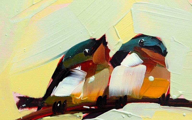 Grobgestrichene Vögel