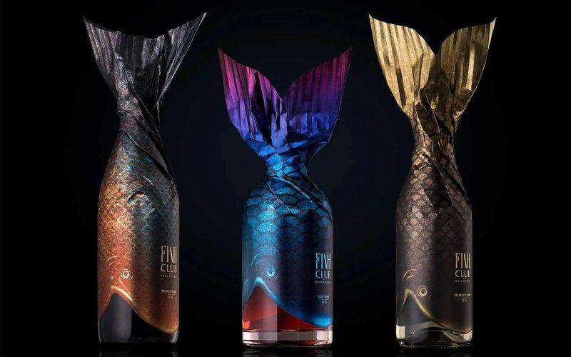 """Verpackungsdesign für """"Fish Club""""-Weinflaschen"""