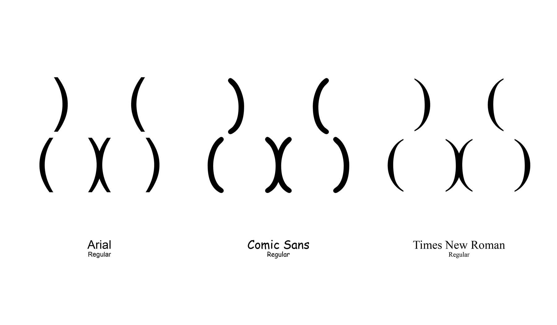 Zeichen-Hintern in unterschiedlichen Schriftarten