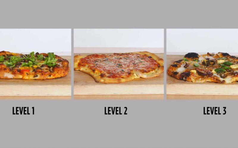 Köche unterschiedlicher Fähigkeitsstufen backen Pizza
