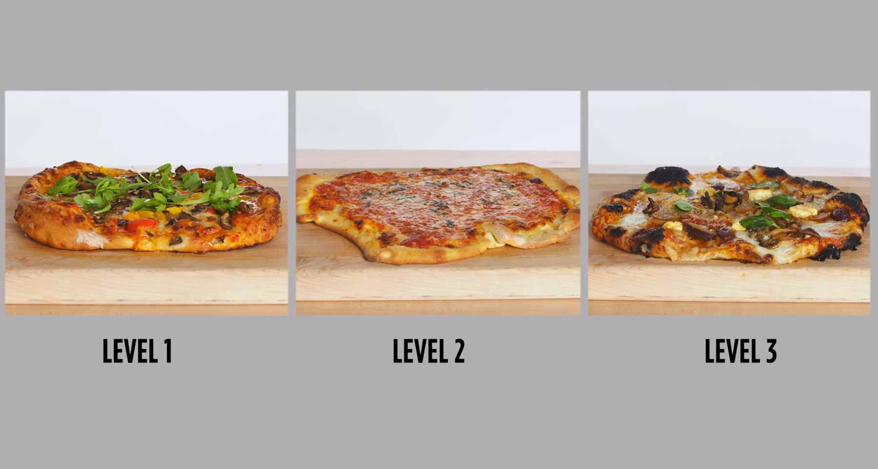 Köche unterschiedlicher Fähigkeitsstufen backen Pizza drei-stufen-pizza