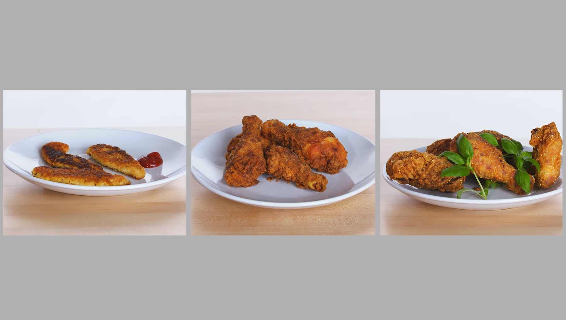 Köche unterschiedlicher Fähigkeitsstufen machen Fried Chicken