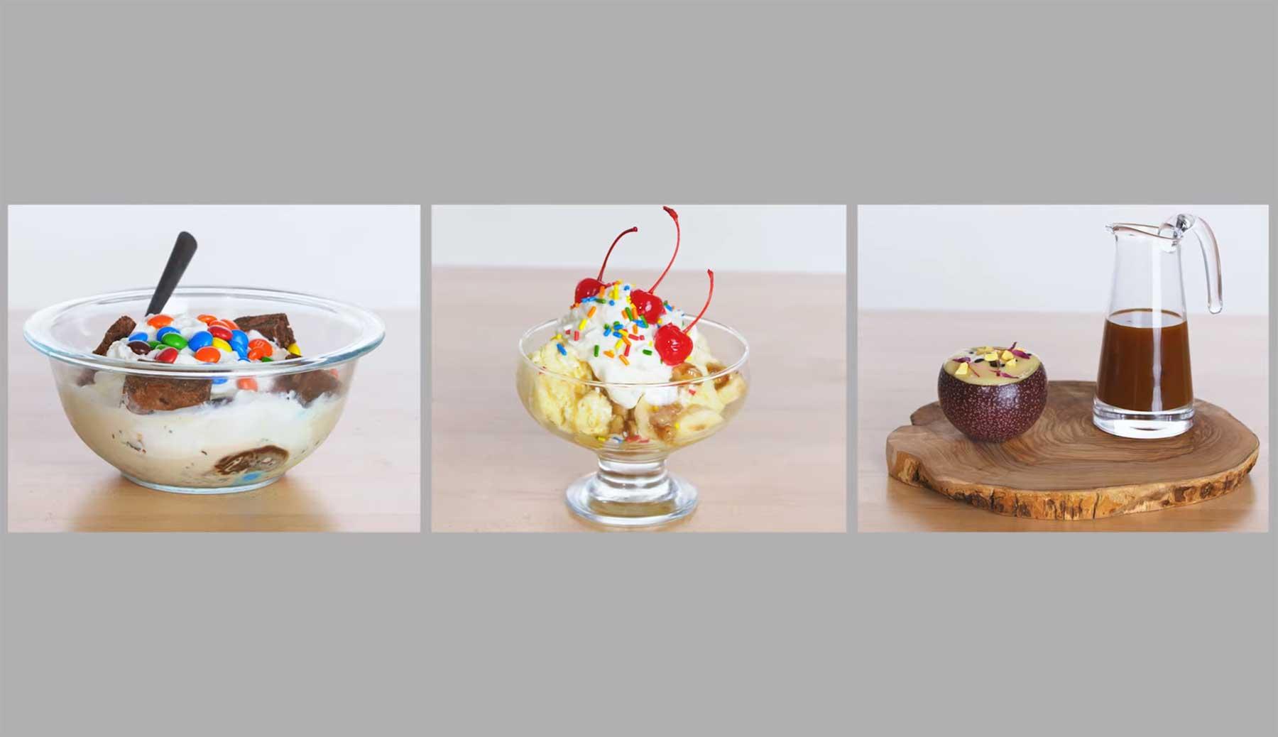 Köche unterschiedlicher Fähigkeitsstufen bereiten Ice Cream Sundaes zu