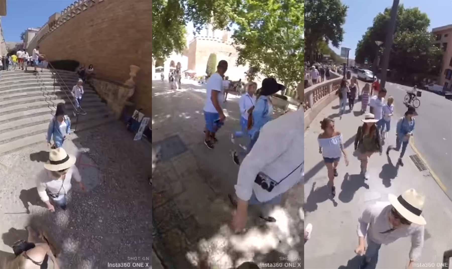 Mann filmt mit Selfie-Stick, wie Taschendiebe minutenlang hinter ihnen herschleichen taschendiebe-gefilmt