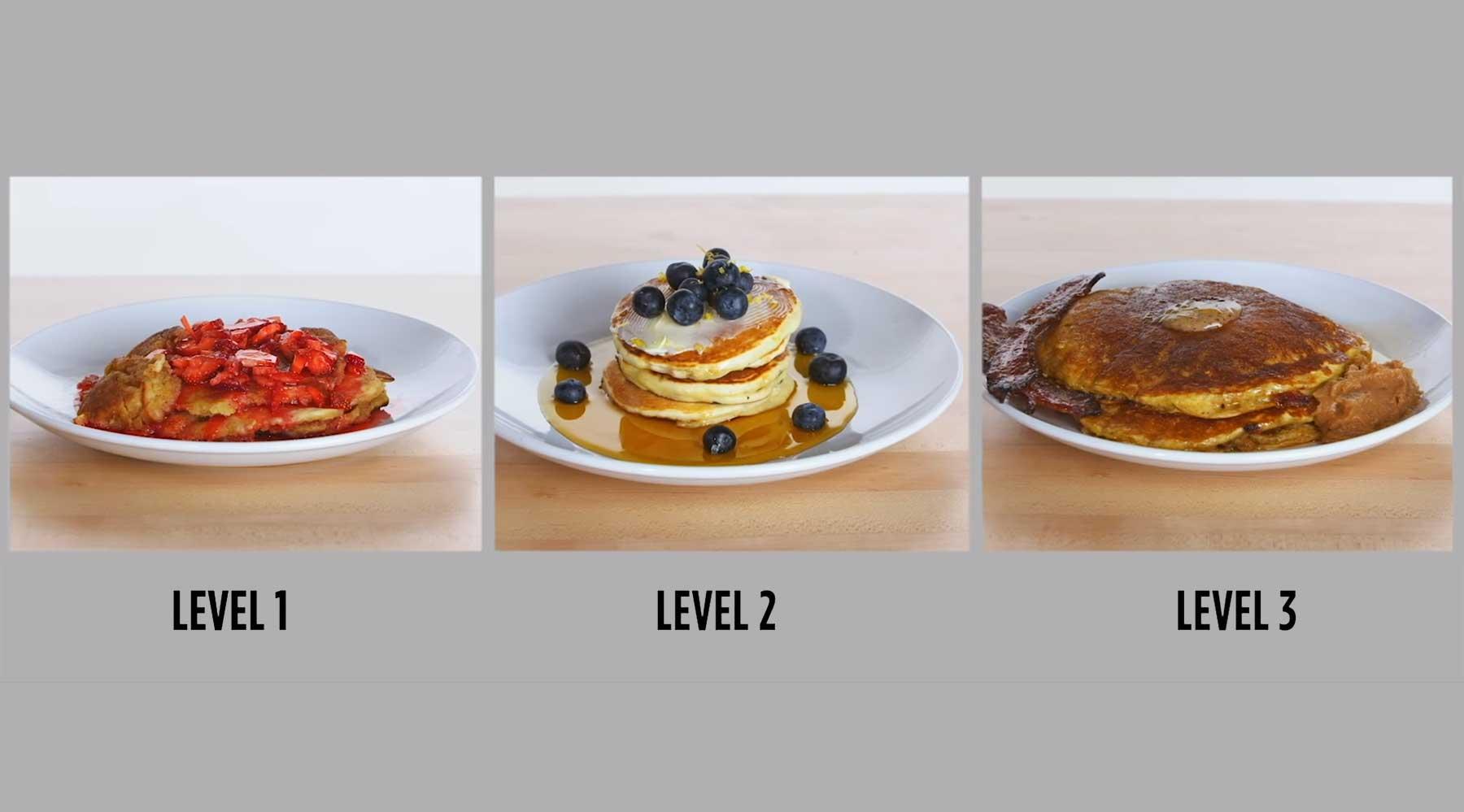 Köche unterschiedlicher Fähigkeitsstufen machen Pfannkuchen