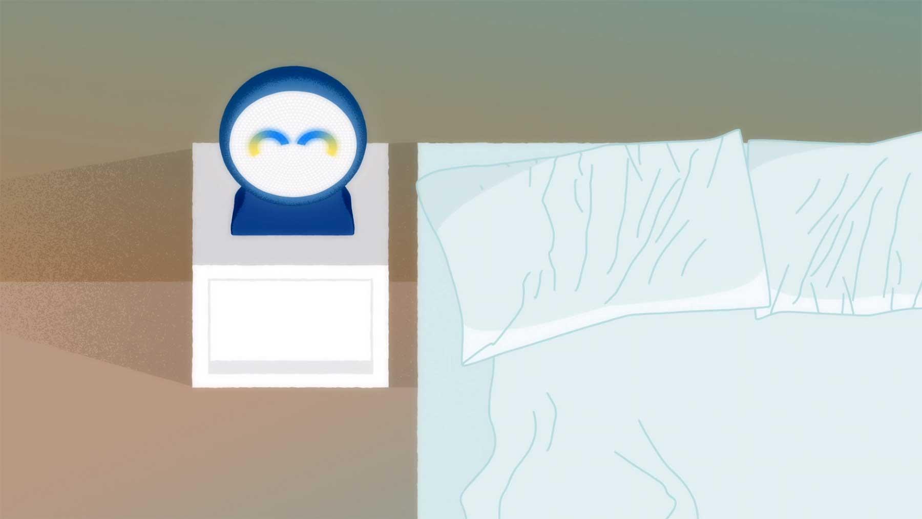 Zwei Sprach-Assistenten im Endloss-Dialog animierter-kurzfilm-while-you-were-sleeping