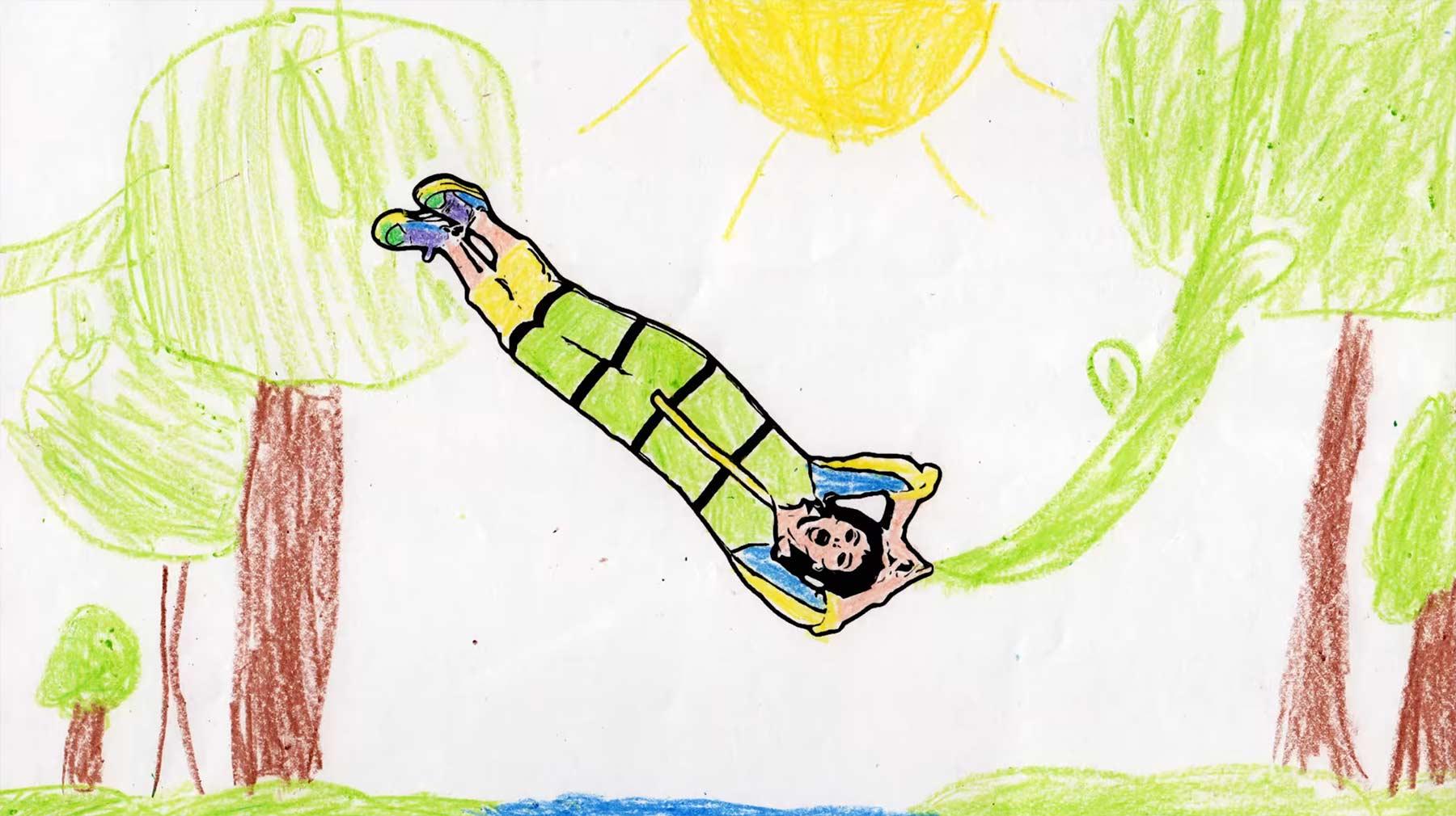Musikvideo aus 2.130 von Kindern ausgemalten Bildern meg-myers-running-up-that-hill-musikvideo