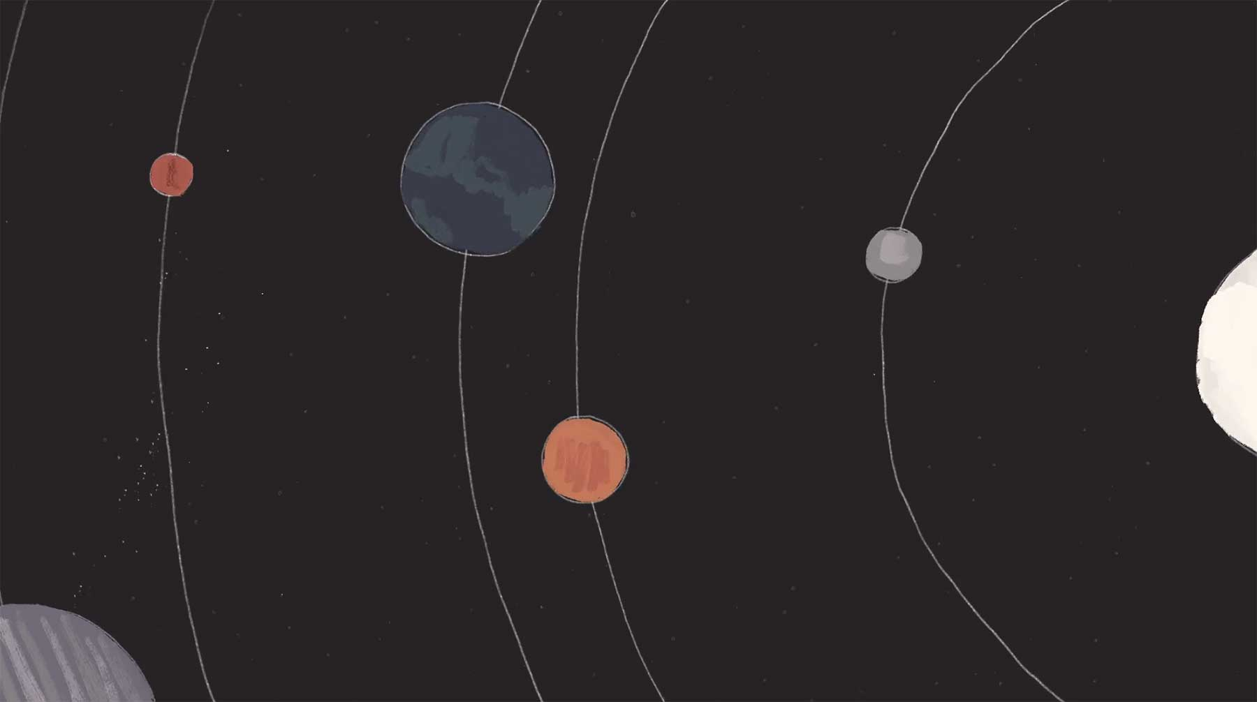 Sonnensystem als Schallplatte spinning-record-animation