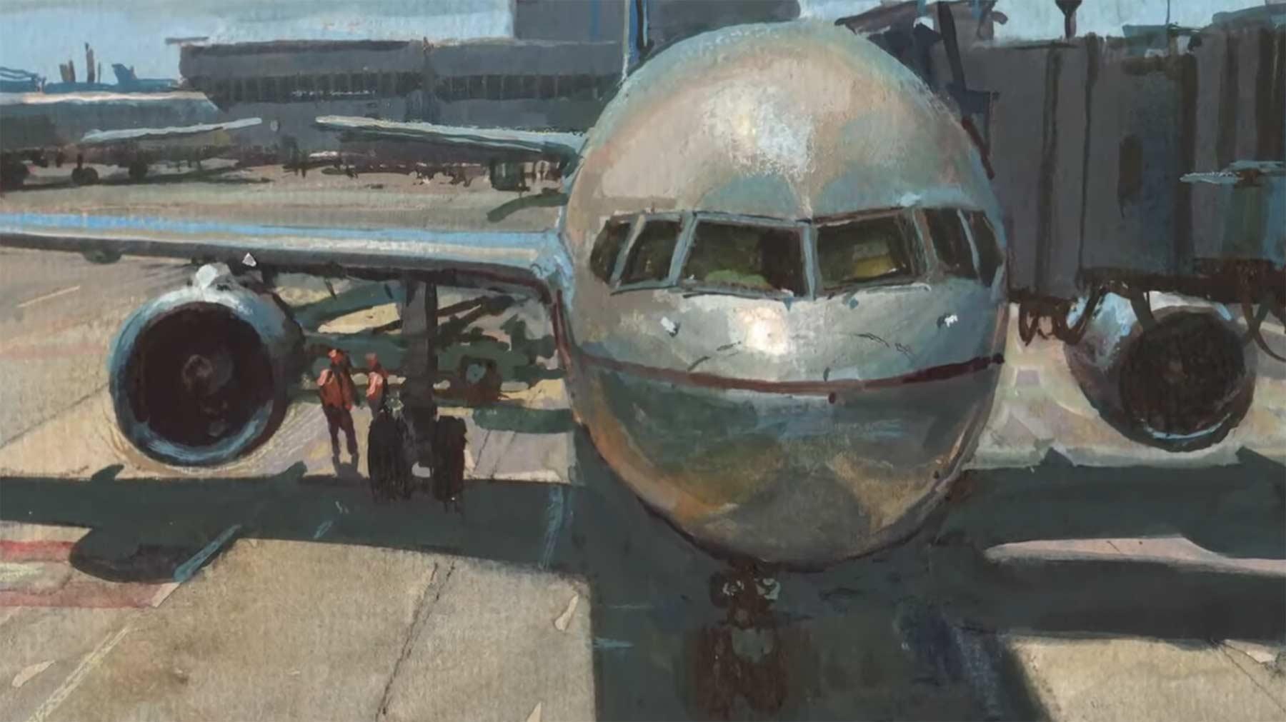 Ein Flugzeug beim Warten auf das Boarding malen Painting-an-Airliner-in-Gouache