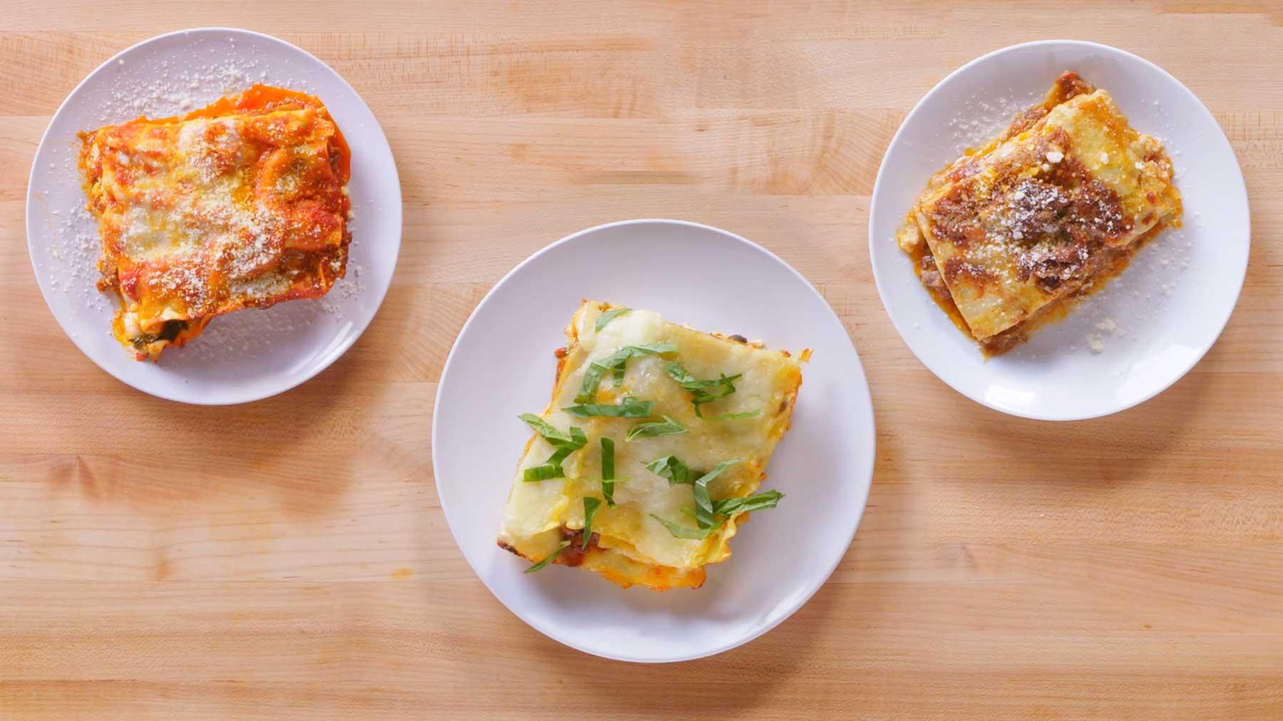 Köche unterschiedlicher Fähigkeitsstufen machen Lasagne