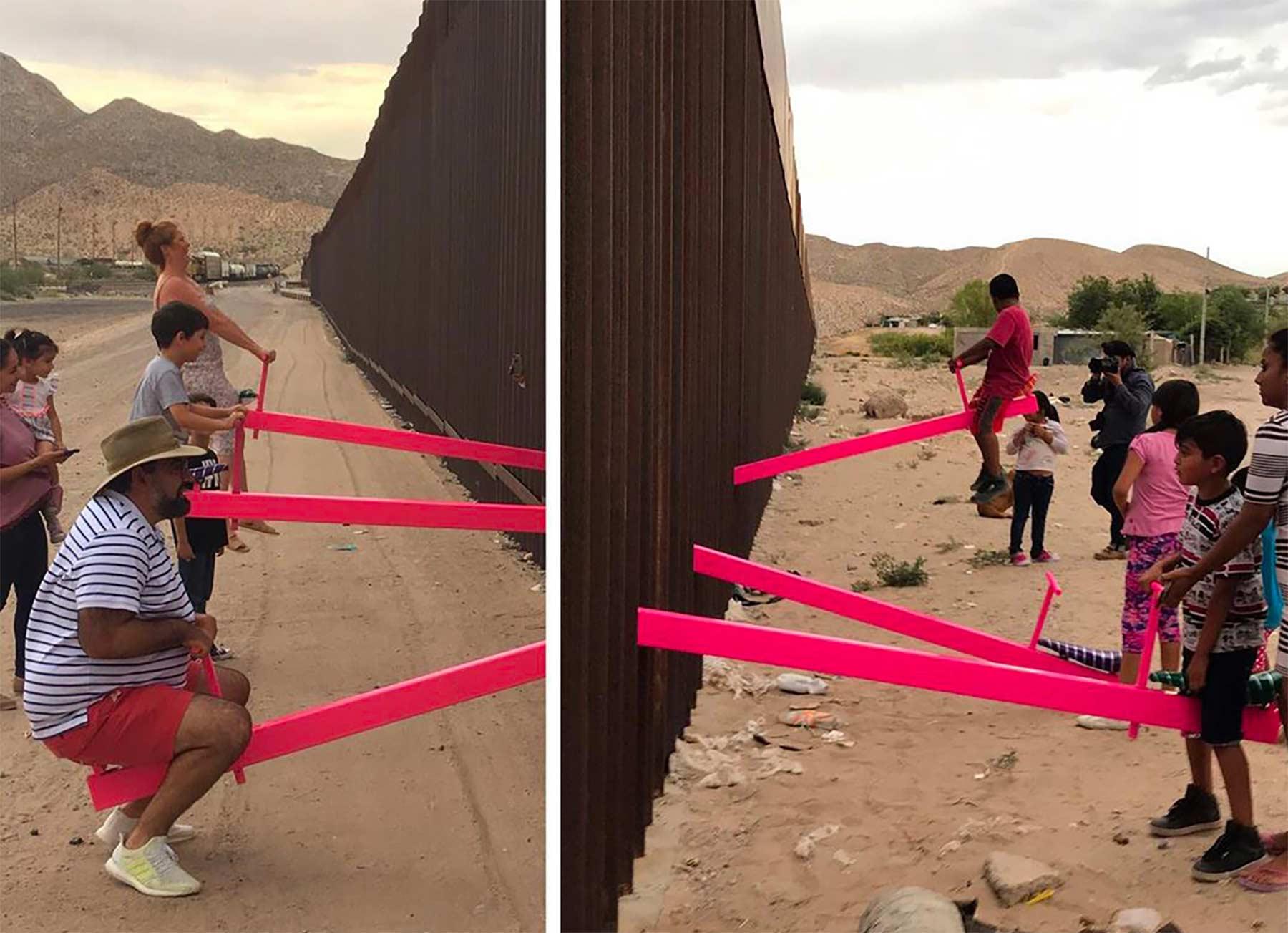 Wippen an der USA-Mexiko-Grenze laden zum gemeinsamen Spielen ein