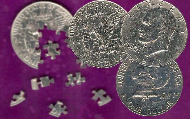 Aus Münzen gemachte Puzzles