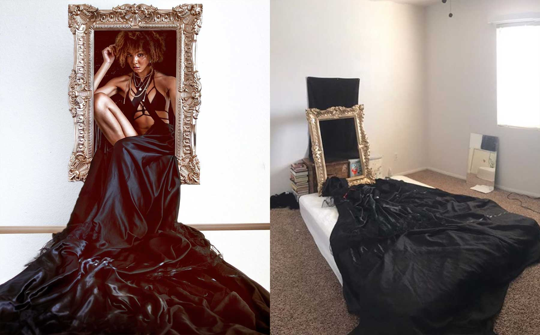 Instagramerin zeigt, wie sie kreative Kulissen für ihre Selbstportraits erstellt