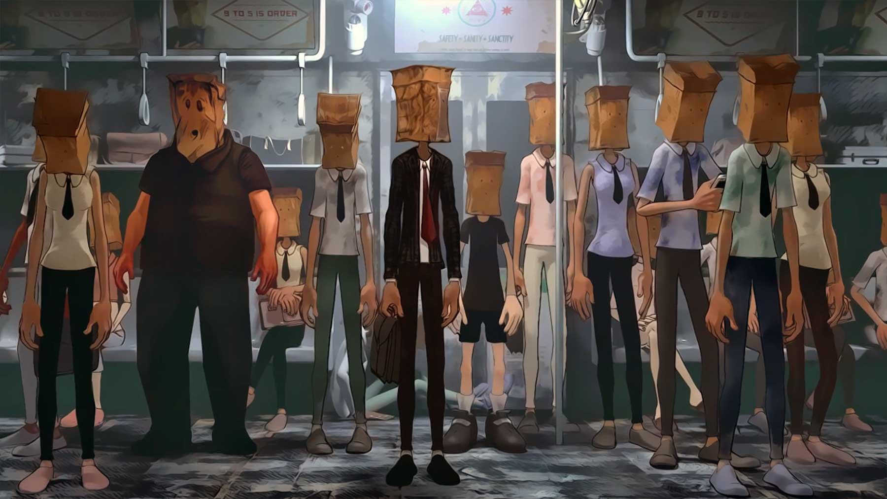 Eine Welt, in der alle Papiertüten über dem Kopf tragen schirkoa-animierter-kurzfilm
