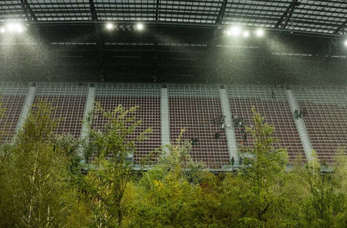 Ein Fussballstadion Voller Baume