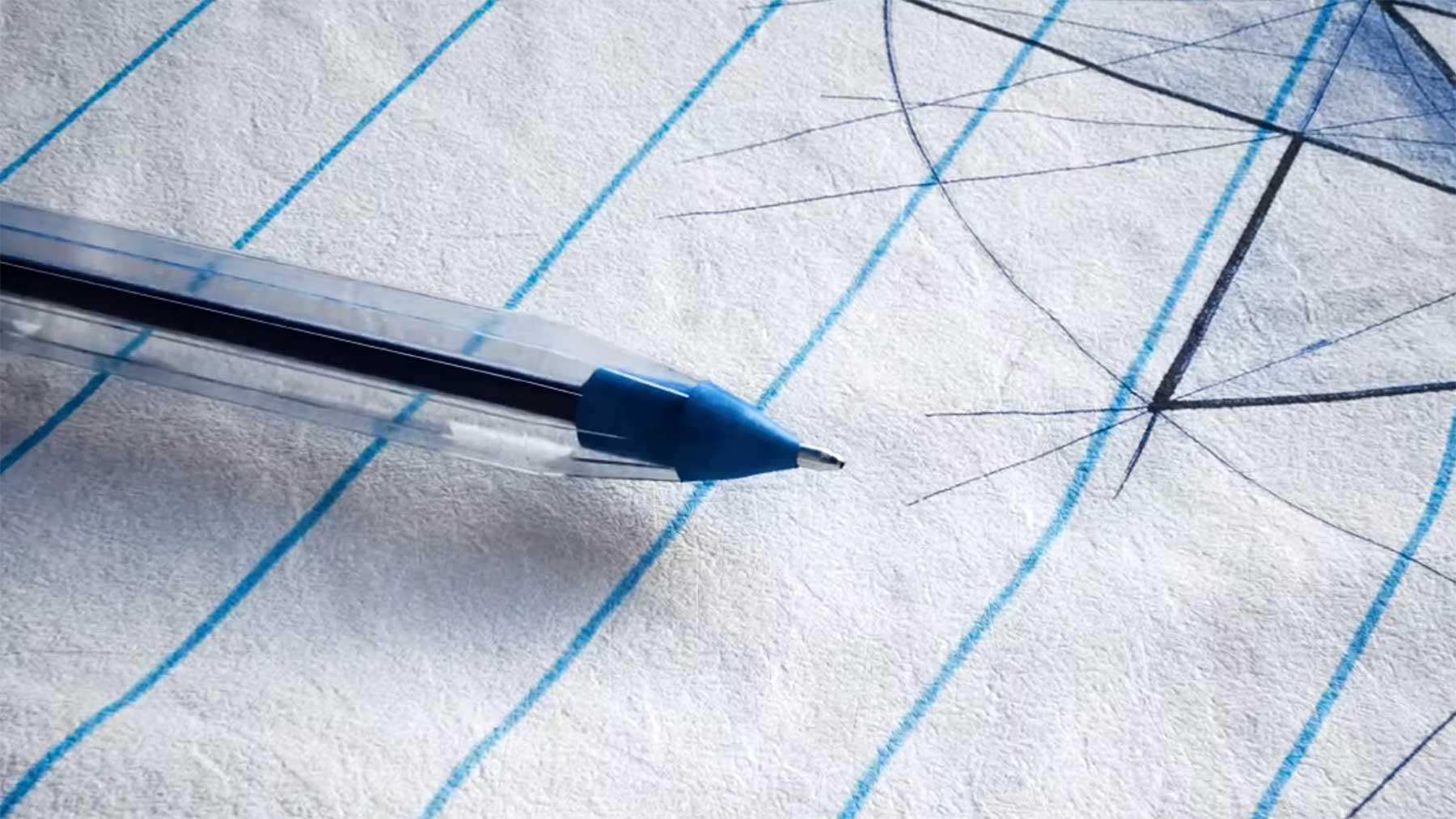 Zoom einer Kugelschreibermine bis auf Atom-Level