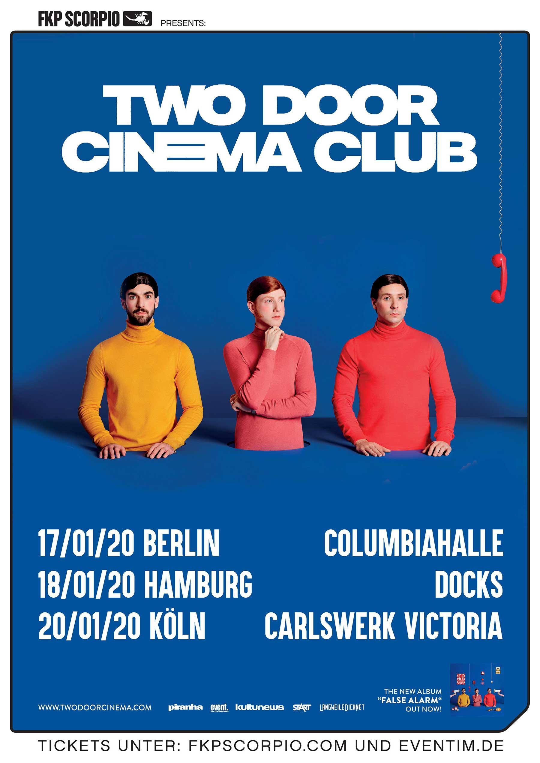 Gewinnt 3x2 Tickets für die Two Door Cinema Club Tournee 2020 twodoorcinemaclub-poster-tour-2020