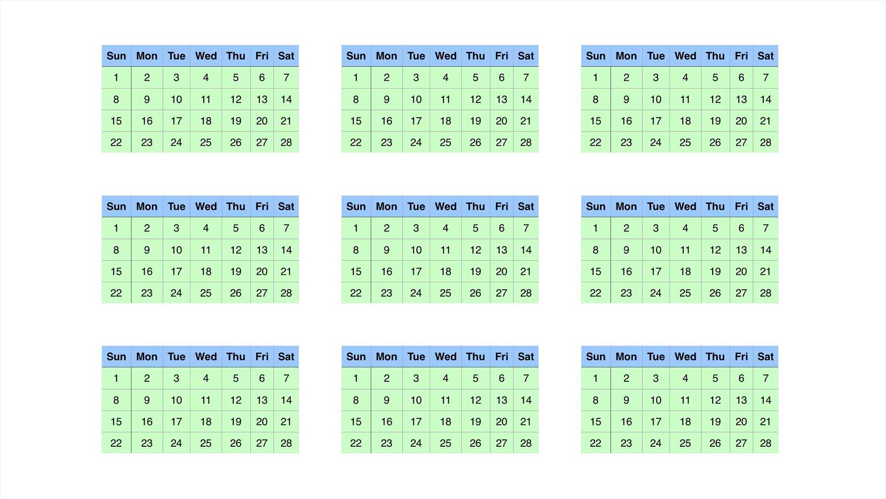 Wie wäre es mit einem Kalender mit 13 gleichlangen Monaten?