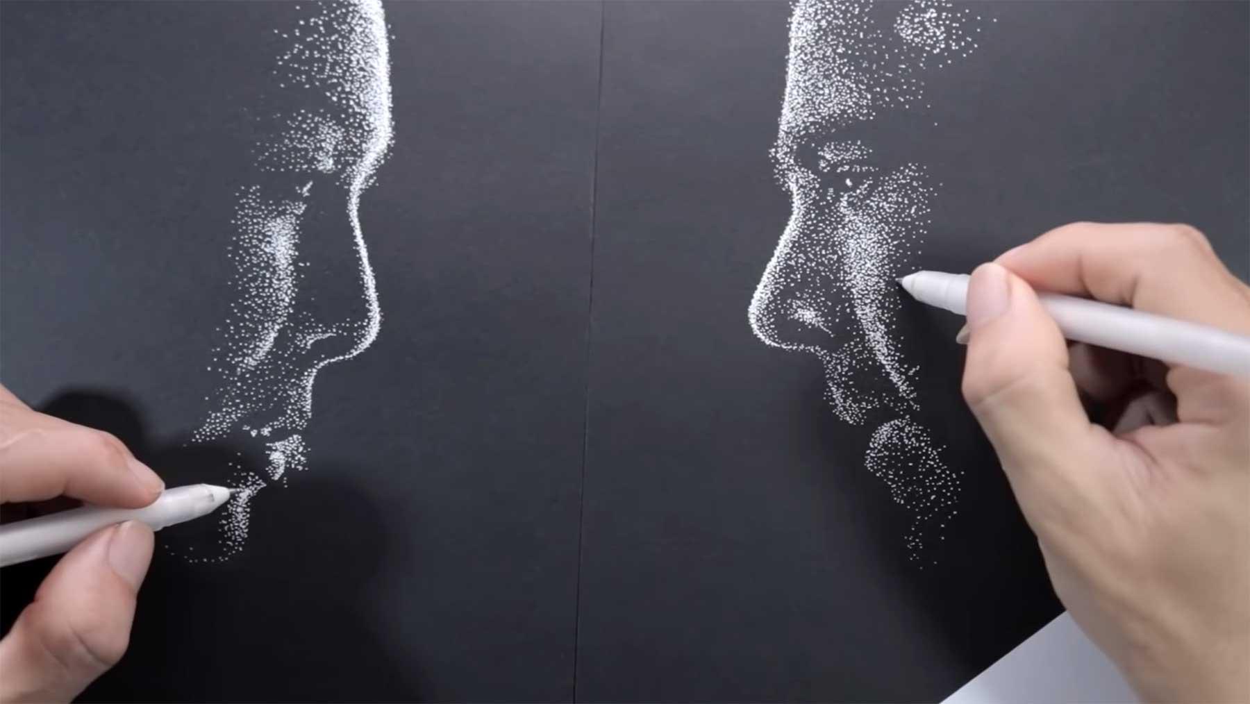 Zwei Portraits gleichzeitig mit zwei Händen zeichnen