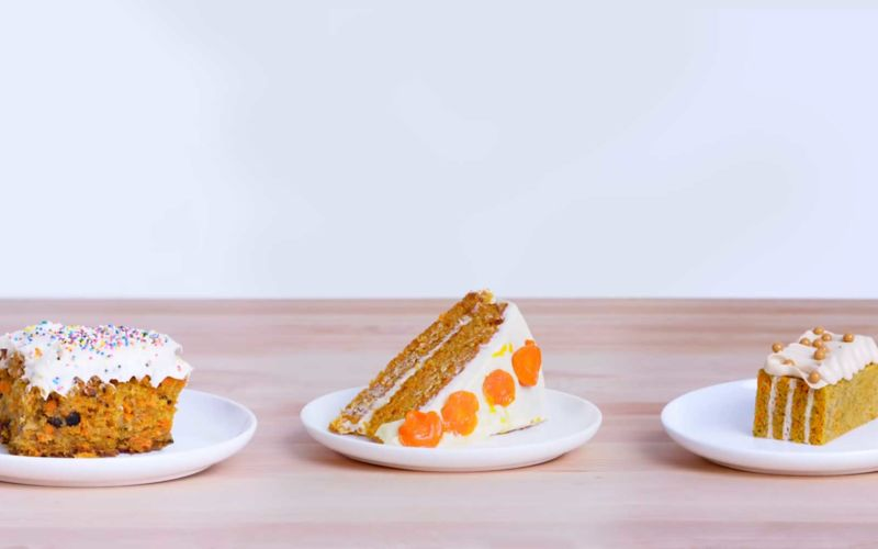 Köche unterschiedlicher Fähigkeitsstufen backen Carrot Cake