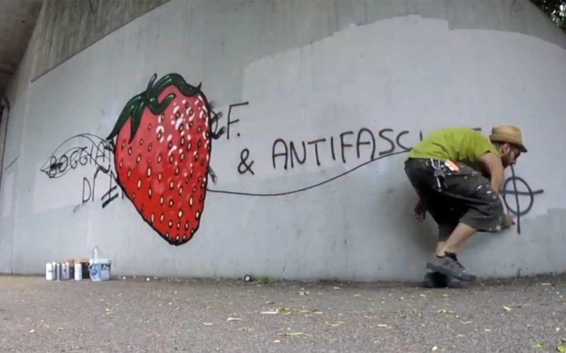 CIBO übersprüht extremistische Schmierereien mit Food-Murals