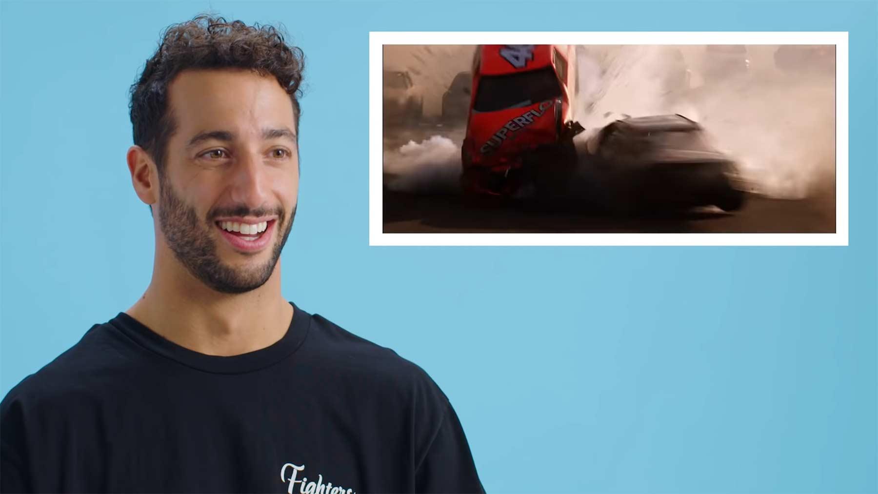 Formel-1-Rennfahrer Daniel Ricciardo bewertet Rennszenen aus Filmen