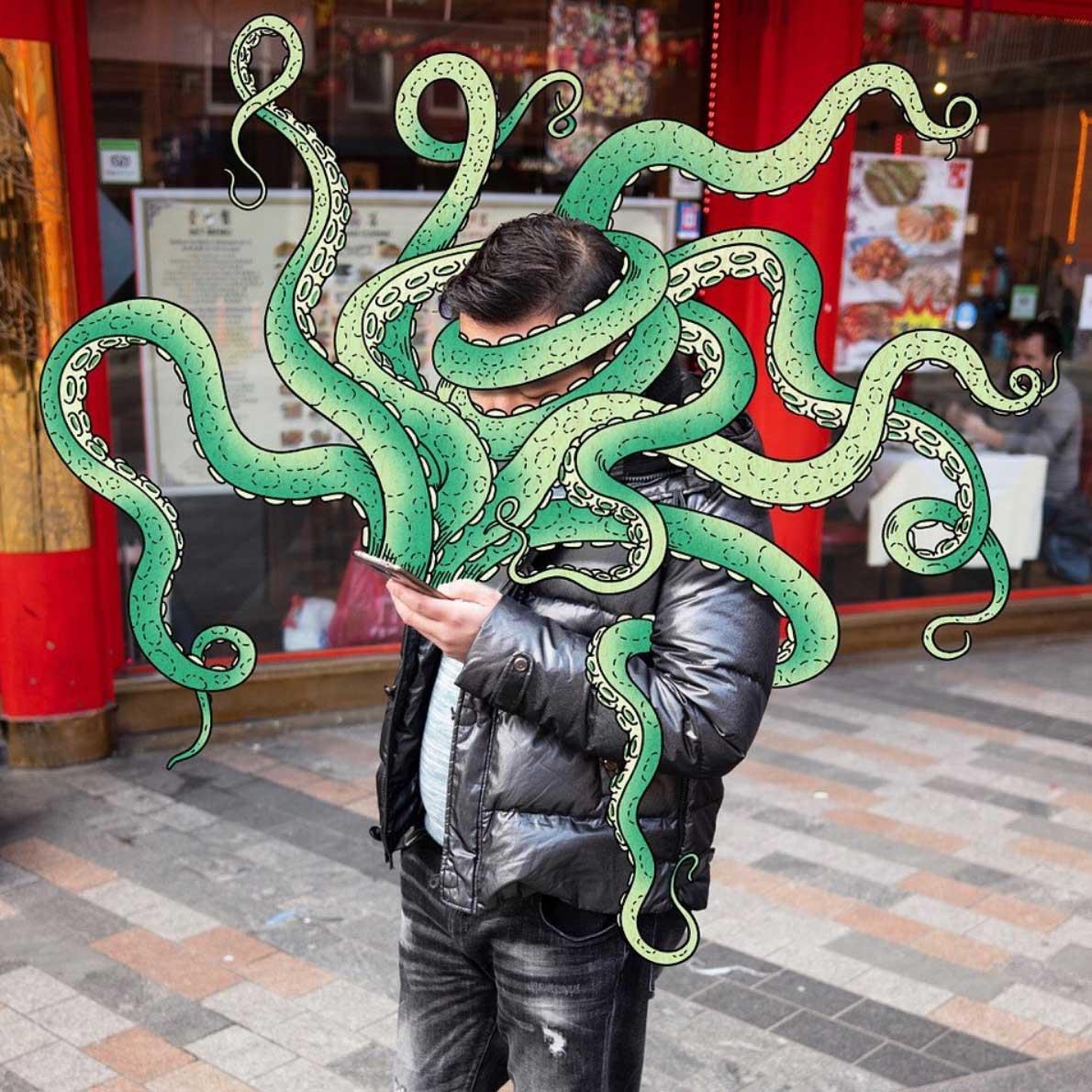 Gezeichnete Smartphone-Monster von Andrew Rae