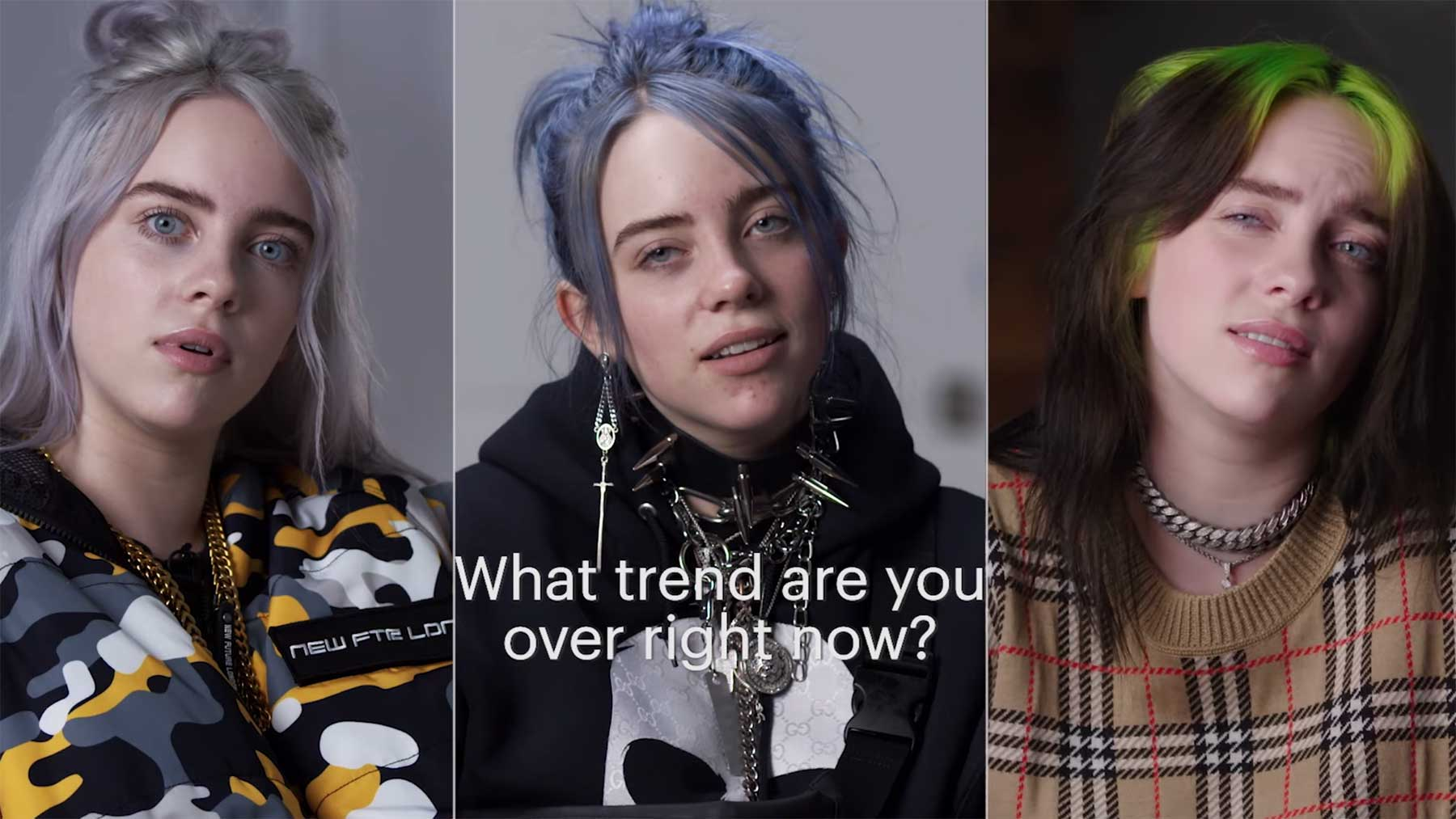 Billie Eilish im gleichen Interview noch ein Jahr später