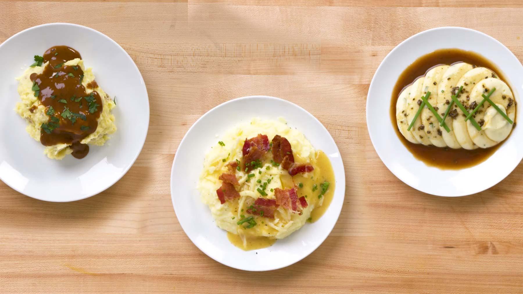 Köche unterschiedlicher Fähigkeitsstufen machen Kartoffelpüree drei-level-kartoffelpueree