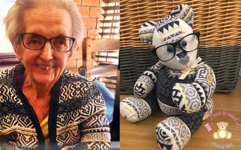 Teddybären aus der Kleidung geliebter Menschen