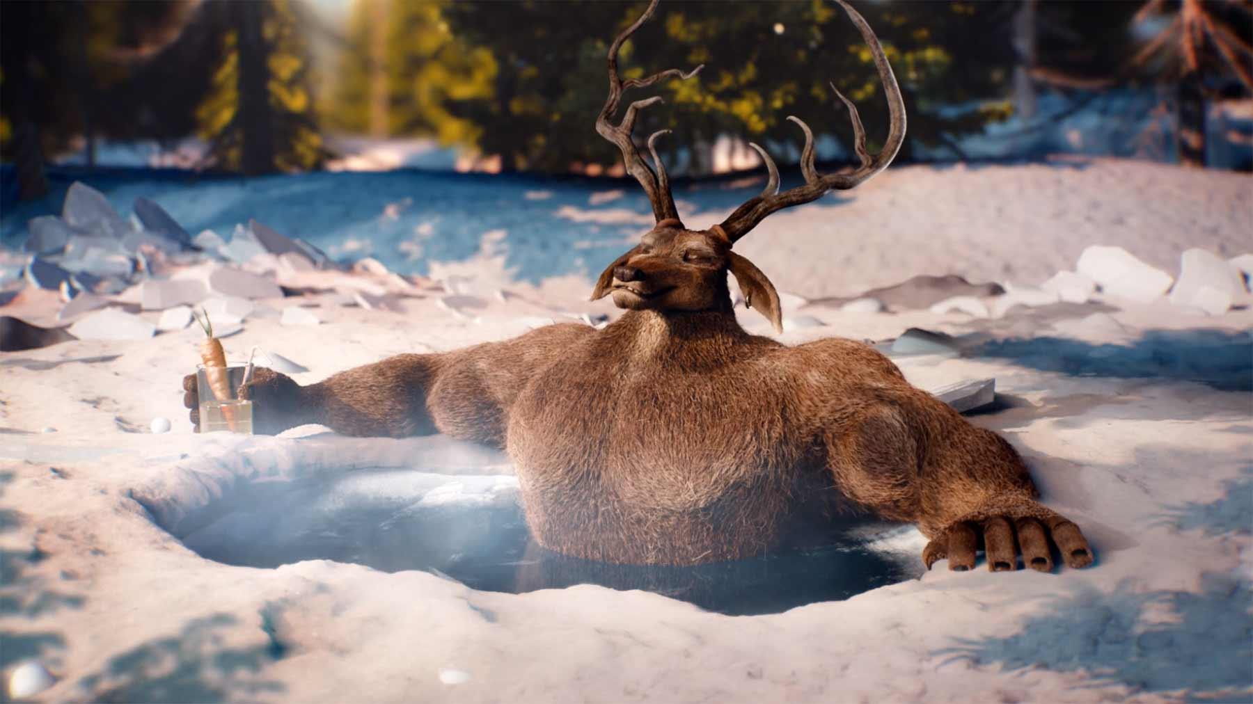 Rudolph, das hart an seinem Körper schuftende Rentier