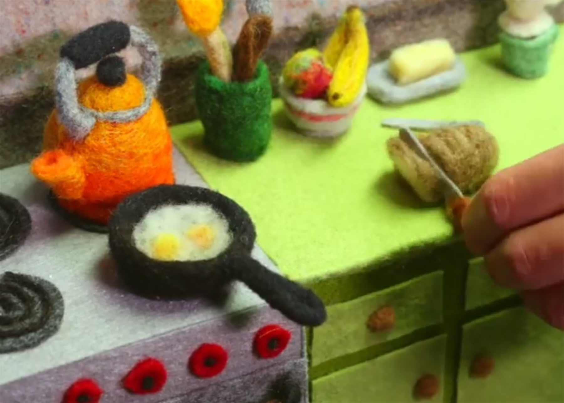 Stopmotion-Frühstück aus Wolle