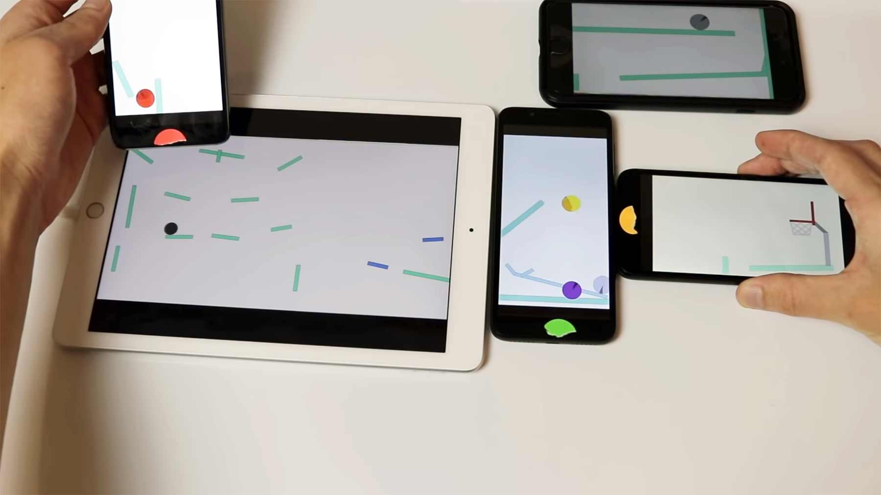 Murmel-Animation über mehrere Bildschirme hinweg