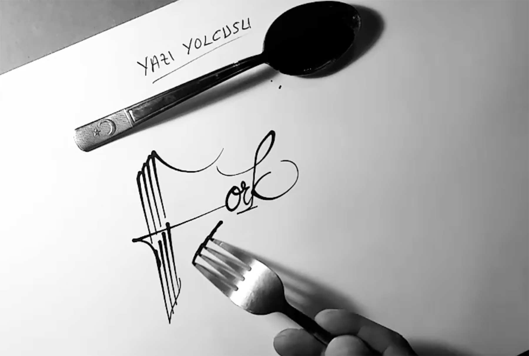 Gabel-Kalligraphie