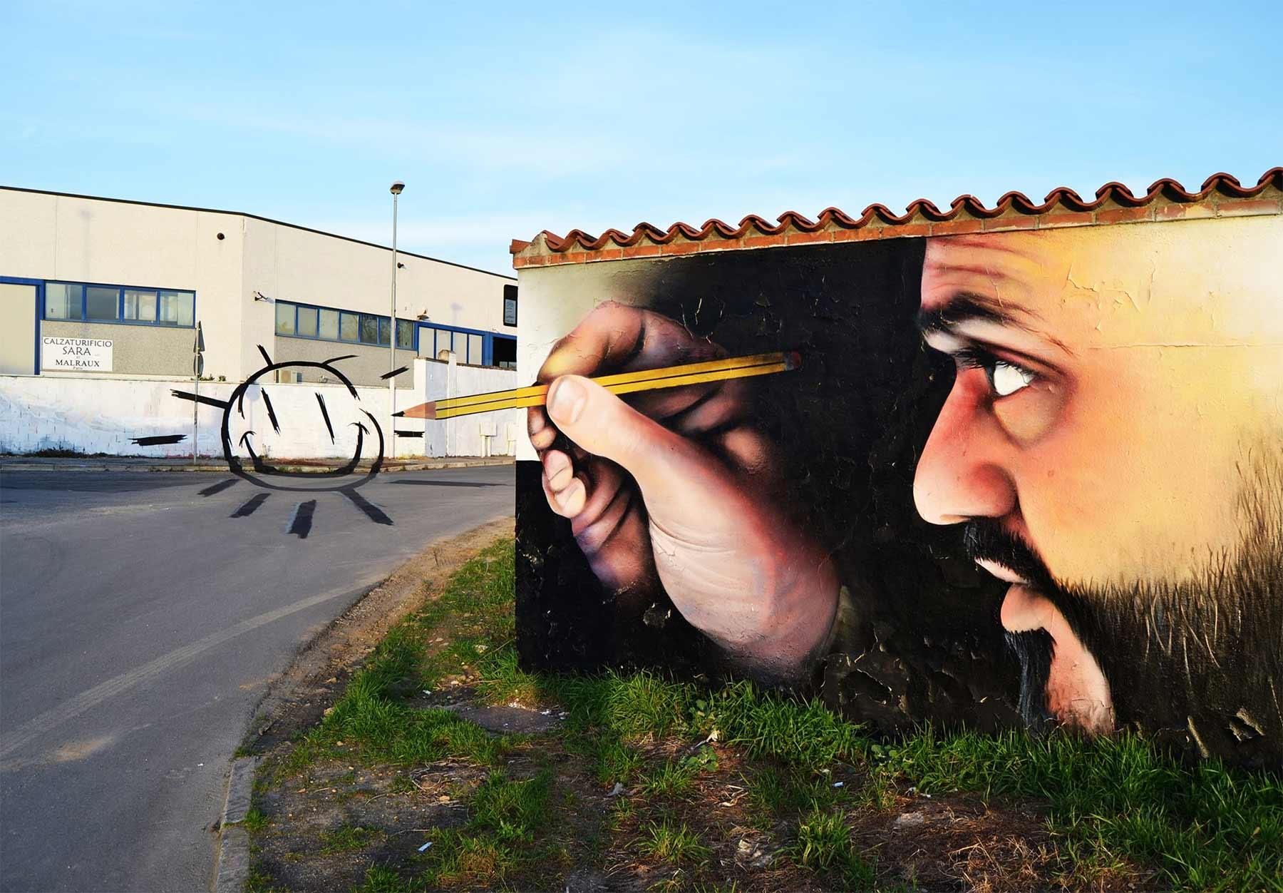 """3D-Street Art von Caiffa """"Cheone"""" Cosimo"""