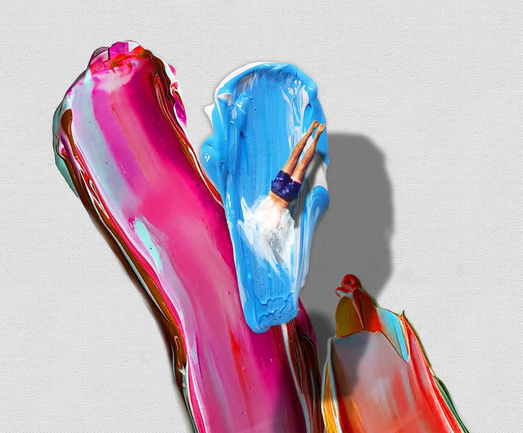 In Farbklecksen schwimmende Figuren von Golsa Golchini Golsa-Golchini_05