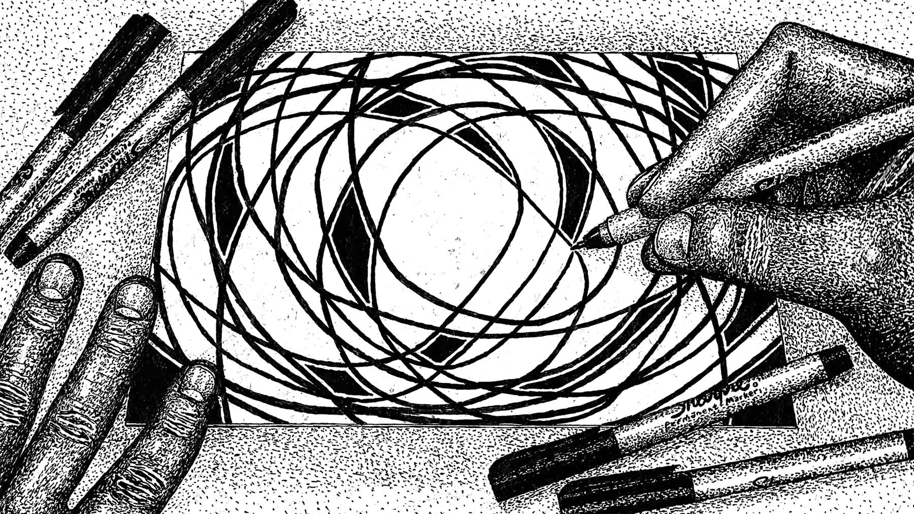 Handgemalte Animation auf einem einzelnen Blatt Papier jake-fried-the-blank-page