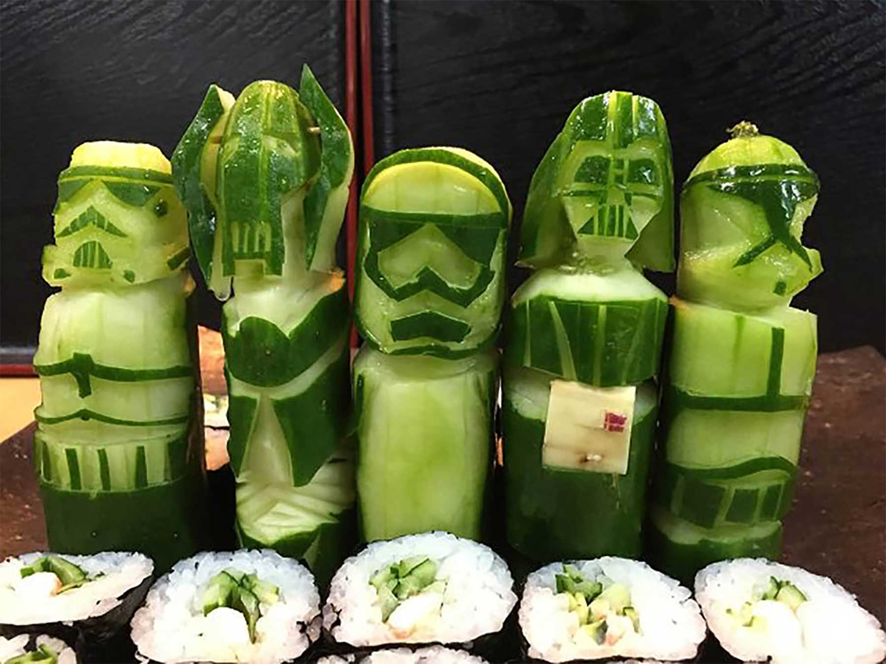 """""""Star Wars""""-Gemüseskulpturen von Okitsugu Kado sushi-gemuese-kreationen-star-wars_01"""