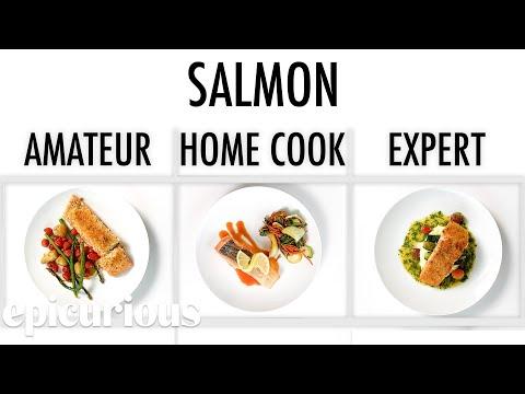 Köche unterschiedlicher Fähigkeitsstufen bereiten Lachs zu