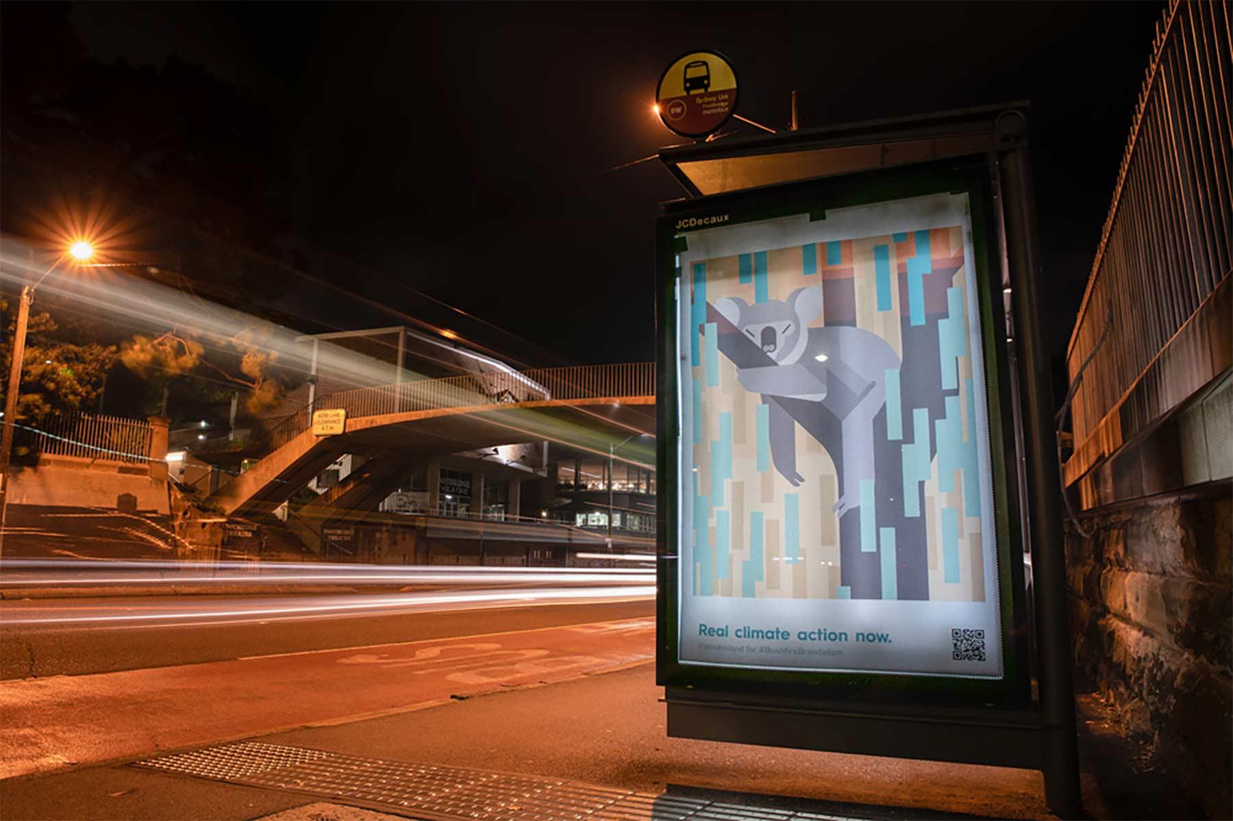 """""""Bushfire Brandalism"""": Guerilla-Werbeplakate für Klimawandel-Bewusstsein Bushfire-brandalism-guerilla-art-aktion_01"""