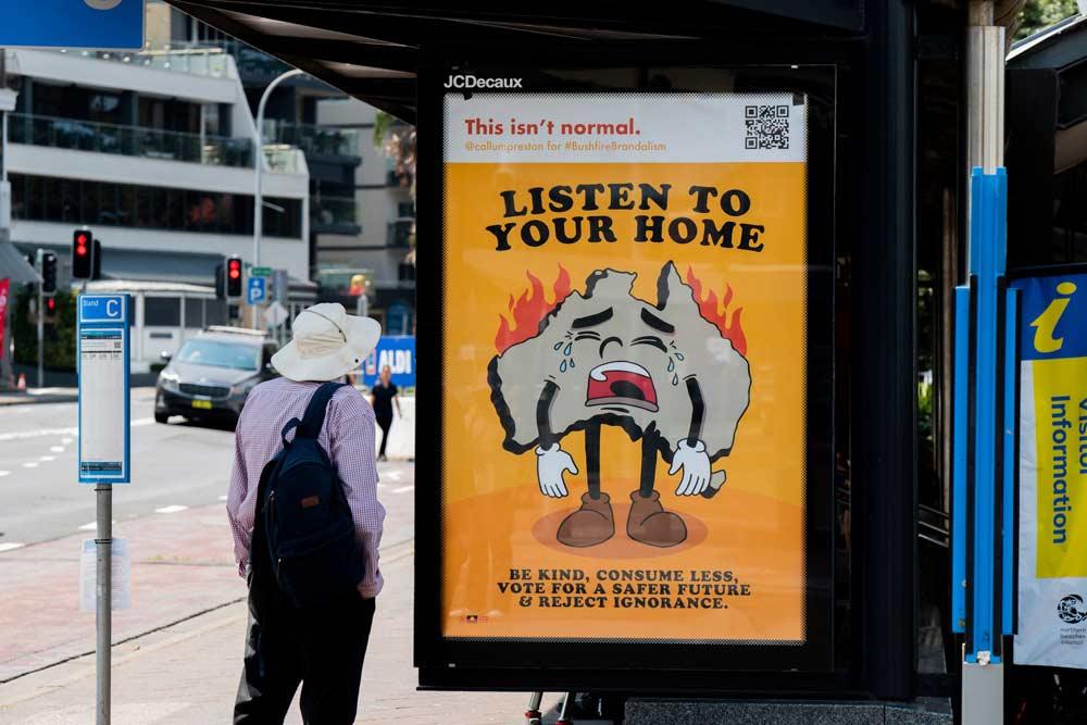 """""""Bushfire Brandalism"""": Guerilla-Werbeplakate für Klimawandel-Bewusstsein Bushfire-brandalism-guerilla-art-aktion_06"""