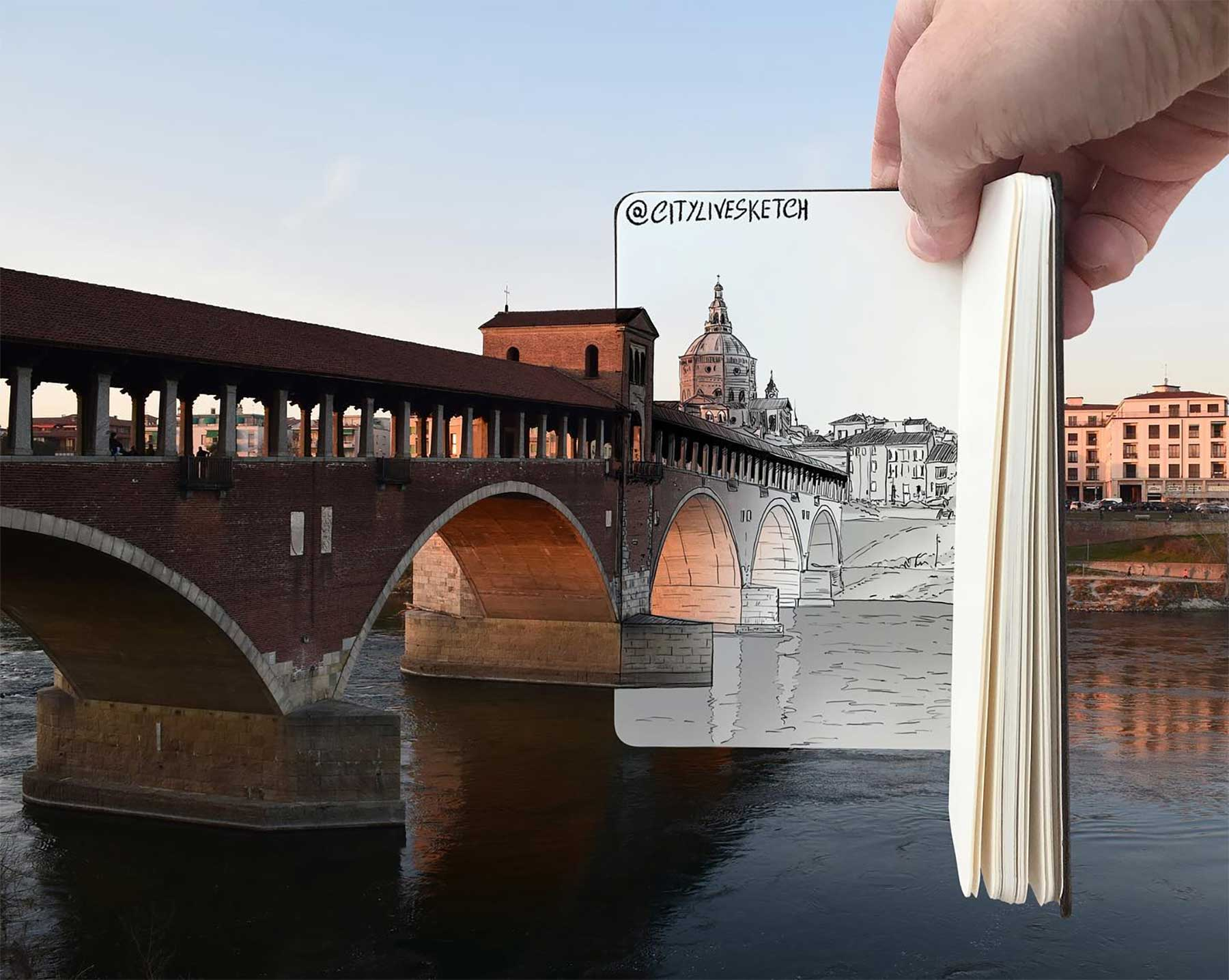 Pietro Cataudella lässt Zeichnungen mit der Realität verschmelzen