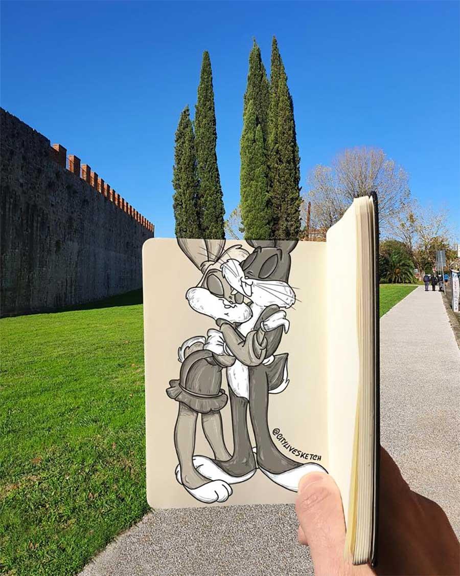 Pietro Cataudella lässt Zeichnungen mit der Realität verschmelzen CityLiveSketch-Pietro-Cataudella_03