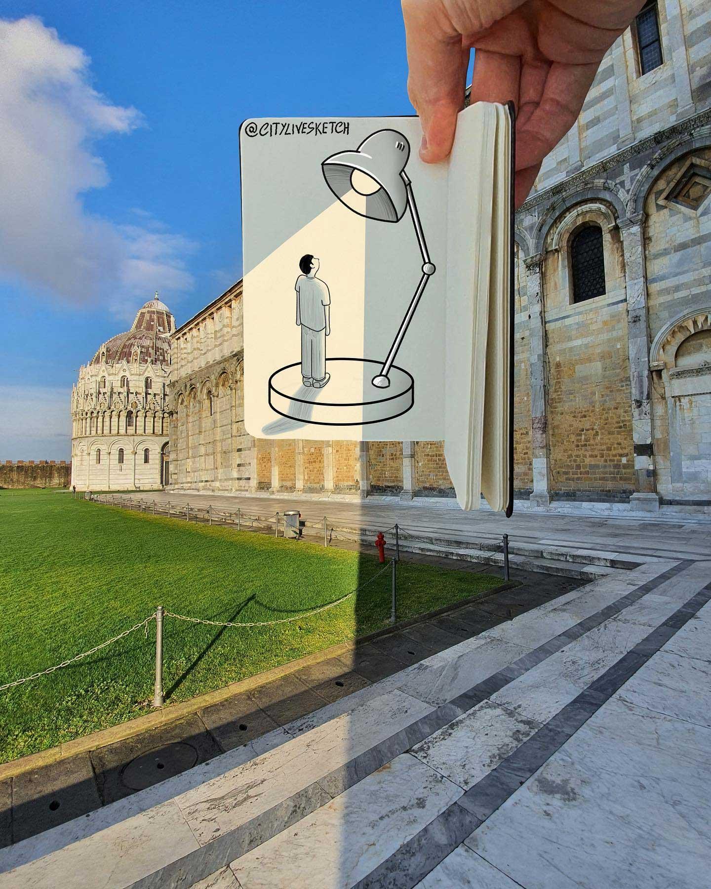 Pietro Cataudella lässt Zeichnungen mit der Realität verschmelzen CityLiveSketch-Pietro-Cataudella_05